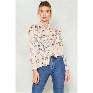 🆕 Beige Floral Ruffle Long Sleeve Blouse